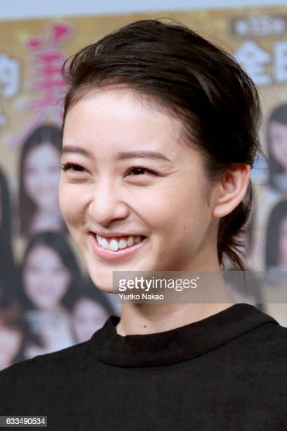 Actress Emi Takei smiles during the press conference for the 15th National Pretty Young Girl Contest on February 2 2017 in Tokyo Japan The Oscar...