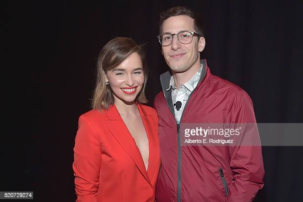 "Actress Emilia Clarke and actor Andy Samberg attend CinemaCon 2016 Warner Bros Pictures Invites You to ""The Big Picture"" an Exclusive Presentation..."