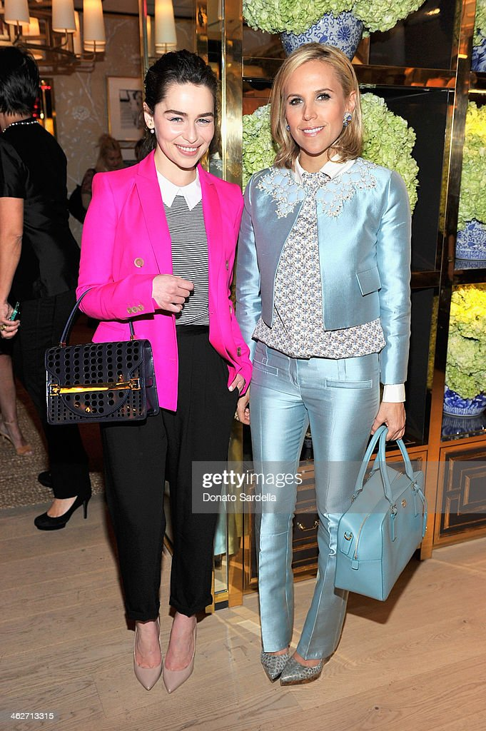 Actress <a gi-track='captionPersonalityLinkClicked' href=/galleries/search?phrase=Emilia+Clarke&family=editorial&specificpeople=7426687 ng-click='$event.stopPropagation()'>Emilia Clarke</a> and designer Tory Burch attend the Tory Burch Rodeo Drive Flagship Opening at Tory Burch on January 14, 2014 in Beverly Hills, California.