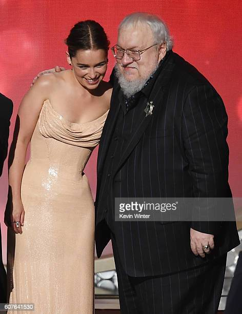 Actress Emilia Clarke and writer George RR Martin accept Outstanding Drama Series for 'Game of Thrones' onstage during the 68th Annual Primetime Emmy...