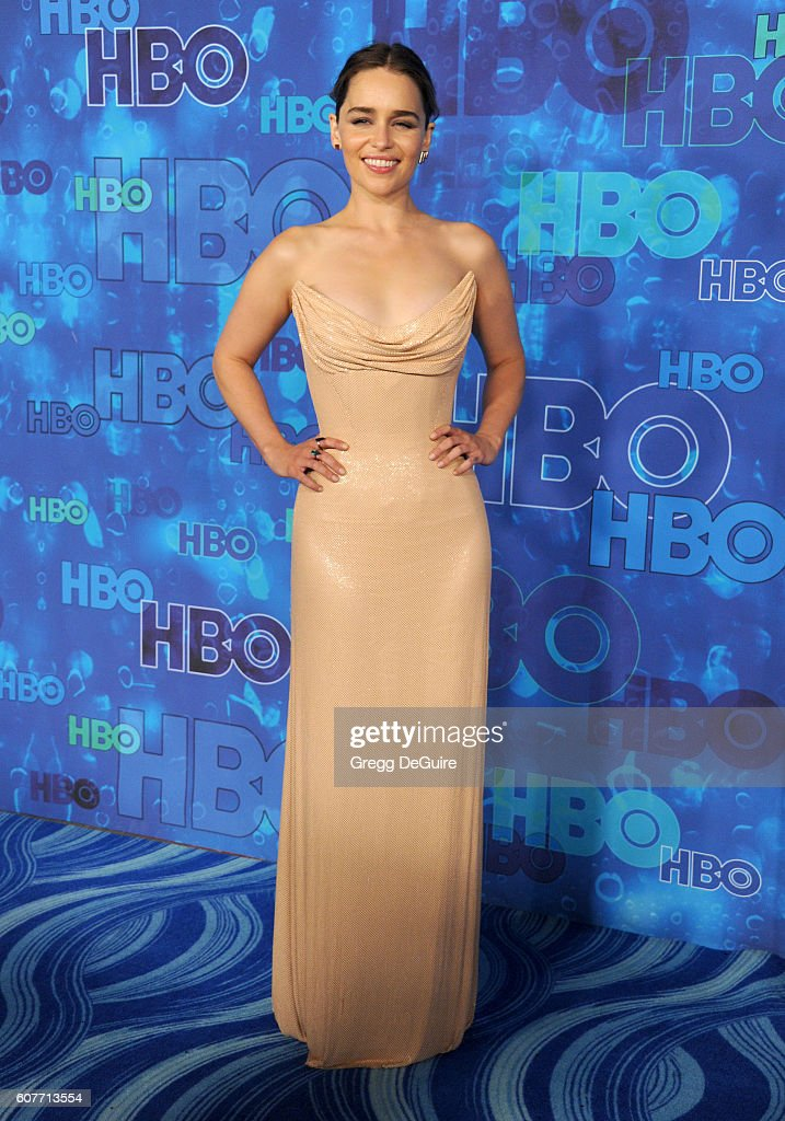 Actress Emilia Clarke arrives at HBO's Post Emmy Awards Reception at The Plaza at the Pacific Design Center on September 18, 2016 in Los Angeles, California.