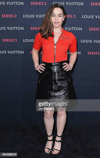 Actress Emilia Clarke arrives at Louis Vuitton 'Series 2' The Exhibition on February 5 2015 in Hollywood California