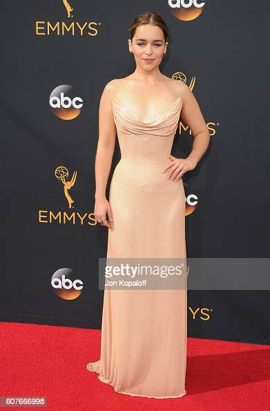 Actress Emilia Clarke arrives at the 68th Annual Primetime Emmy Awards at Microsoft Theater on September 18 2016 in Los Angeles California