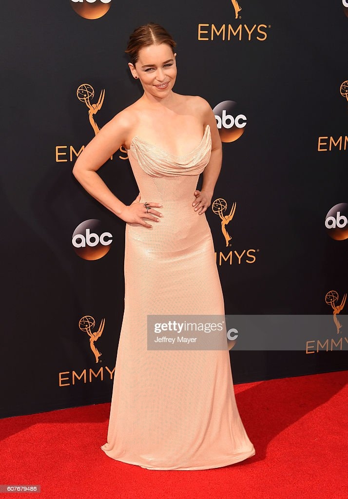 Actress Emilia Clarke arrives at the 68th Annual Primetime Emmy Awards at Microsoft Theater on September 18, 2016 in Los Angeles, California.