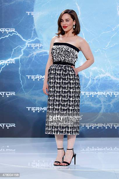 Actress Emilia Clarke arrives at the European Premiere of 'Terminator Genisys' at the CineStar Sony Center on June 21 2015 in Berlin Germany