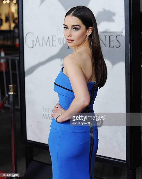 Actress Emilia Clarke arrives at the Los Angeles Premiere of HBO's 'Game Of Thrones' Season 3 at TCL Chinese Theatre on March 18 2013 in Hollywood...