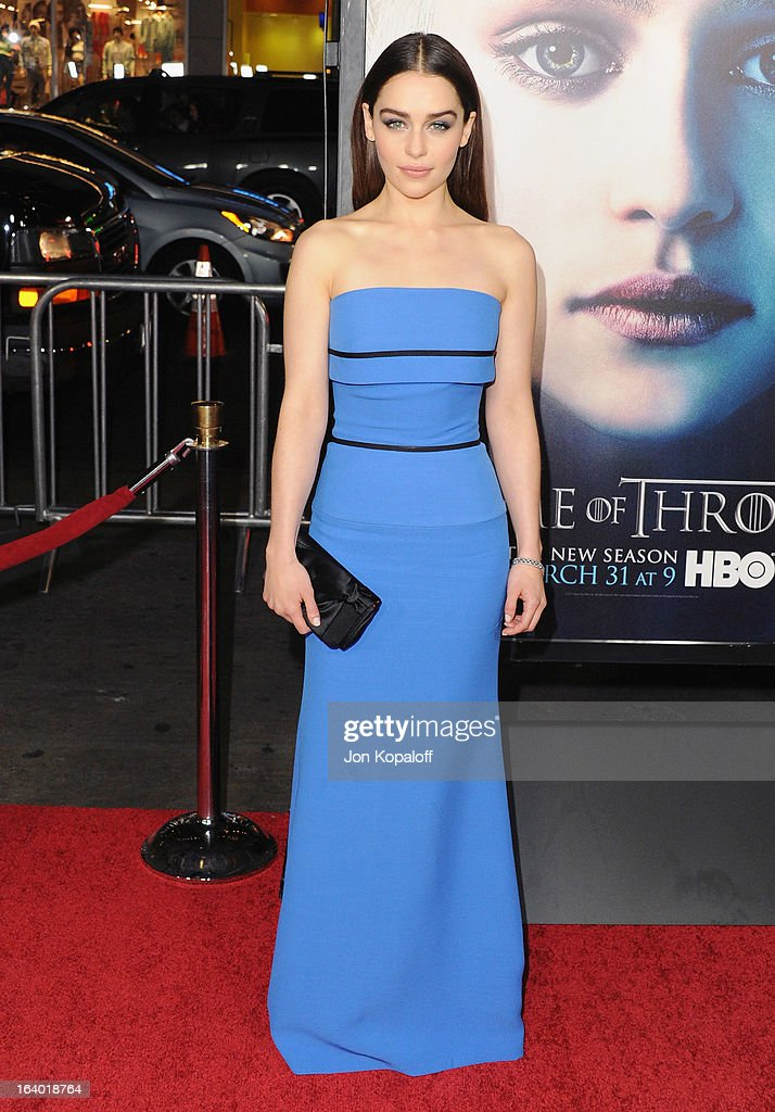 Actress Emilia Clarke arrives at the Los Angeles Premiere of HBO's 'Game Of Thrones' Season 3 at TCL Chinese Theatre on March 18, 2013 in Hollywood, California.