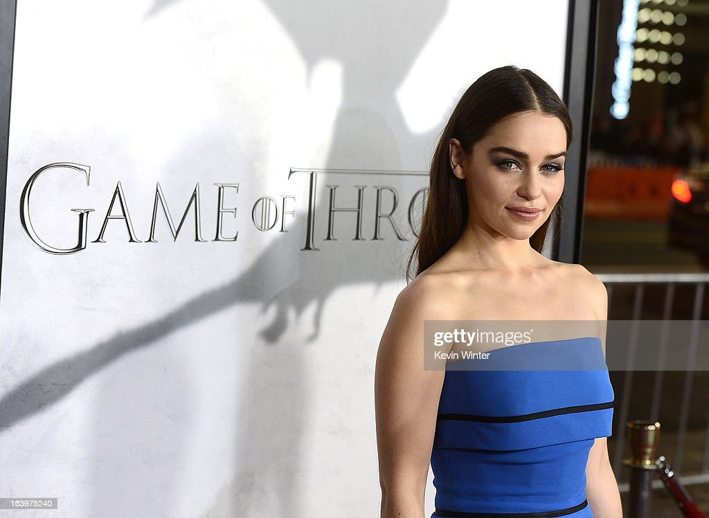 Actress Emilia Clarke arrives at the premiere of HBO's 'Game Of Thrones' Season 3 at TCL Chinese Theatre on March 18, 2013 in Hollywood, California.