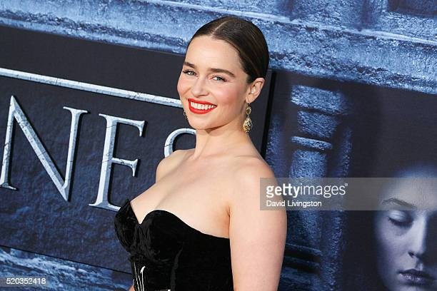 Actress Emilia Clarke arrives at the premiere of HBO's 'Game of Thrones' Season 6 at the TCL Chinese Theatre on April 10 2016 in Hollywood California