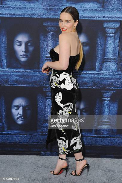 Actress Emilia Clarke arrives at the Premiere Of HBO's 'Game Of Thrones' Season 6 at TCL Chinese Theatre on April 10 2016 in Hollywood California