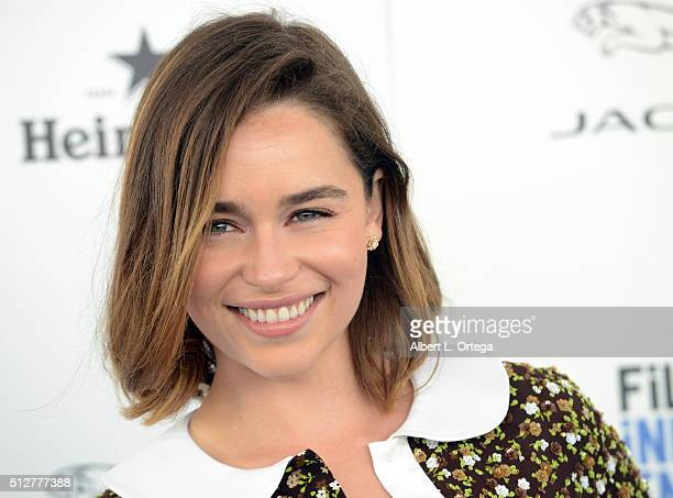 Actress Emilia Clarke arrives for the 2016 Film Independent Spirit Awards held on February 27 2016 in Santa Monica California