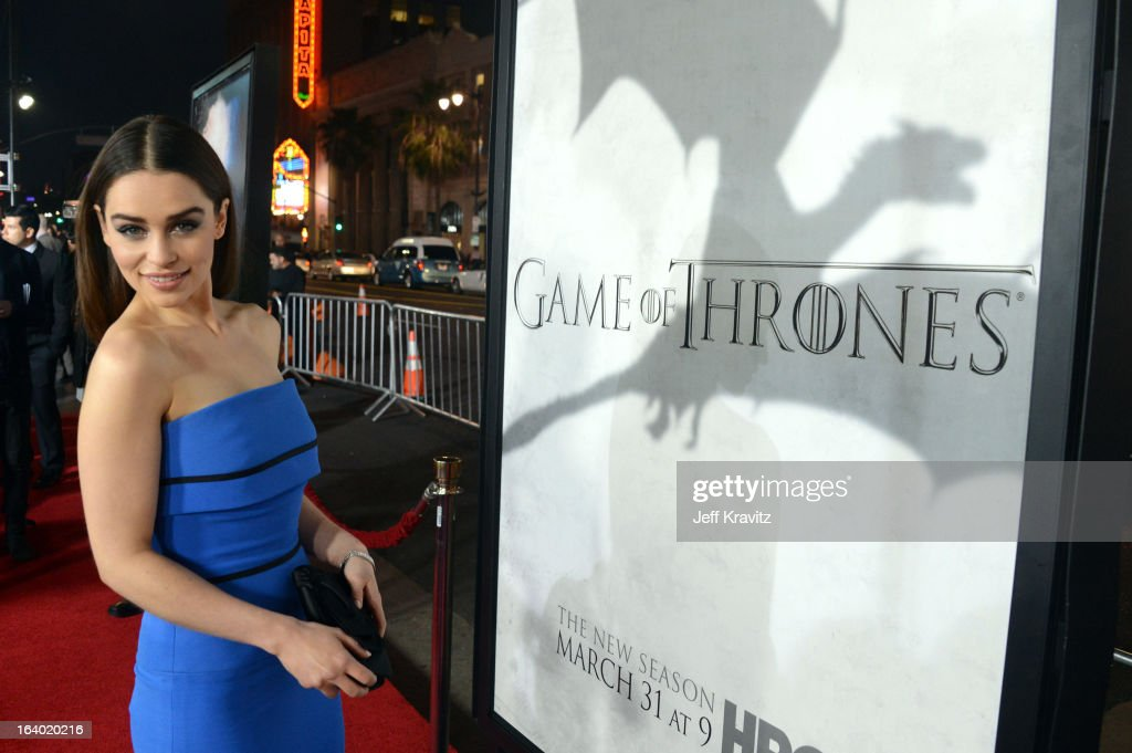 Actress <a gi-track='captionPersonalityLinkClicked' href=/galleries/search?phrase=Emilia+Clarke&family=editorial&specificpeople=7426687 ng-click='$event.stopPropagation()'>Emilia Clarke</a> arrives to HBO's 'Game Of Thrones' Los Angeles Premiere at TCL Chinese Theatre on March 18, 2013 in Hollywood, California.
