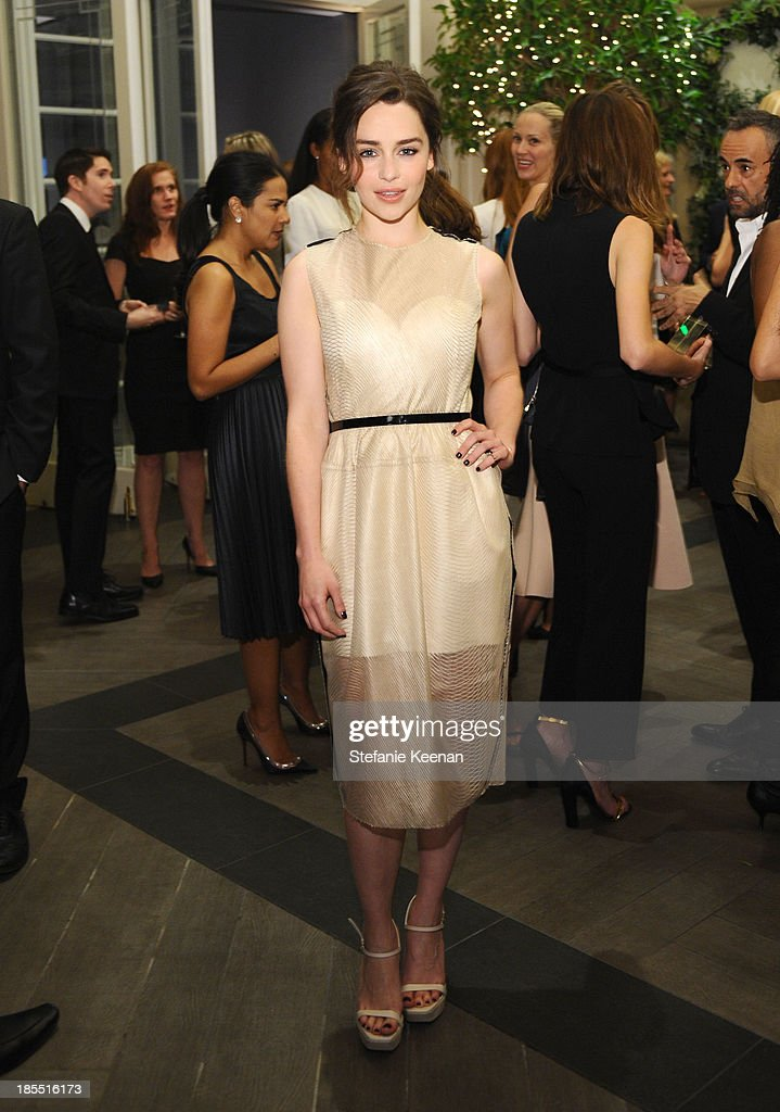 Actress <a gi-track='captionPersonalityLinkClicked' href=/galleries/search?phrase=Emilia+Clarke&family=editorial&specificpeople=7426687 ng-click='$event.stopPropagation()'>Emilia Clarke</a> attends ELLE's 20th Annual Women In Hollywood Celebration at Four Seasons Hotel Los Angeles at Beverly Hills on October 21, 2013 in Beverly Hills, California.