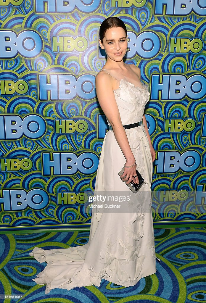 Actress <a gi-track='captionPersonalityLinkClicked' href=/galleries/search?phrase=Emilia+Clarke&family=editorial&specificpeople=7426687 ng-click='$event.stopPropagation()'>Emilia Clarke</a> attends HBO's Annual Primetime Emmy Awards Post Award Reception at The Plaza at the Pacific Design Center on September 22, 2013 in Los Angeles, California.