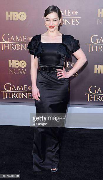 Actress Emilia Clarke attends HBO's 'Game of Thrones' Season 5 Premiere at the San Francisco War Memorial Opera House on March 23 2015 in San...