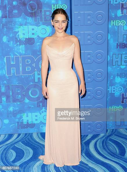 Actress Emilia Clarke attends HBO's Official 2016 Emmy After Party at The Plaza at the Pacific Design Center on September 18 2016 in Los Angeles...