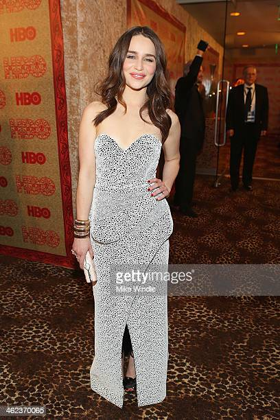 Actress Emilia Clarke attends HBO's Post 2014 Golden Globe Awards Party held at Circa 55 Restaurant on January 12 2014 in Los Angeles California
