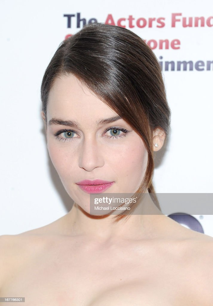 Actress Emilia Clarke attends the 2013 Actors Fund's Annual Gala honoring Robert De Niro at The New York Marriott Marquis on April 29, 2013 in New York City.