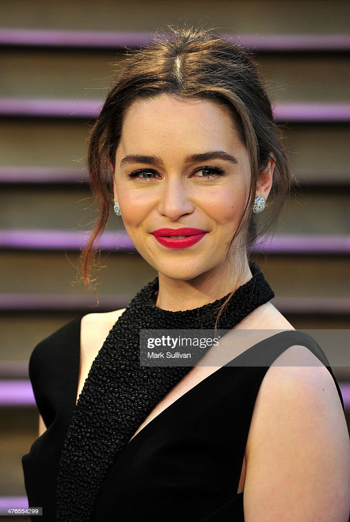 Actress Emilia Clarke attends the 2014 Vanity Fair Oscar Party hosted by Graydon Carter on March 2, 2014 in West Hollywood, California.