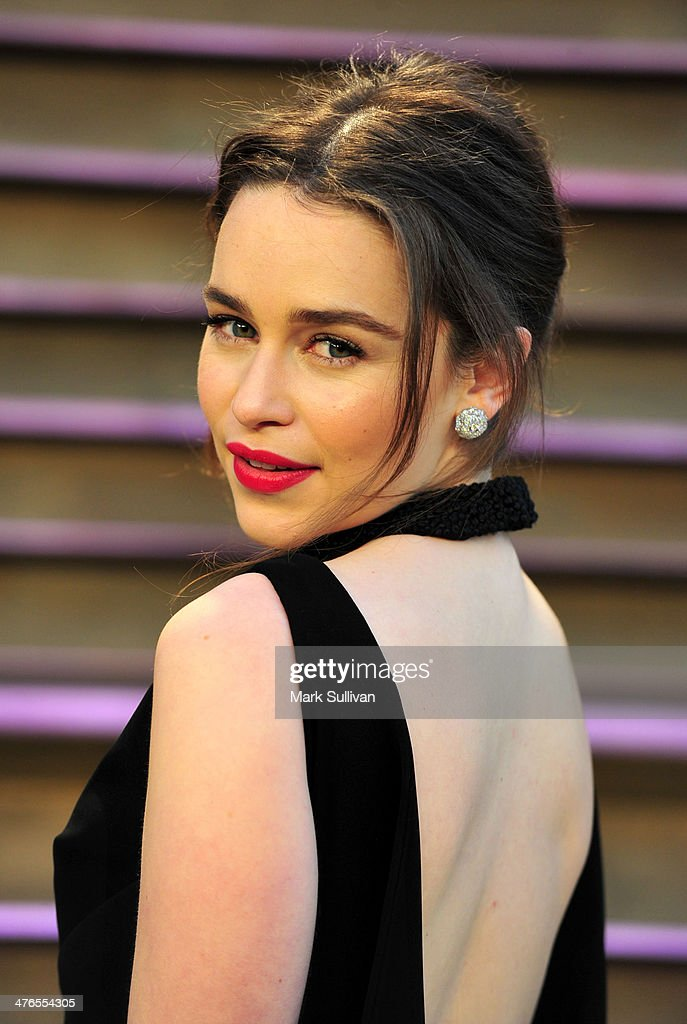 Actress Emilia Clarke attends the 2014 Vanity Fair Oscar Party hosted by Graydon Carter on March 2 2014 in West Hollywood California