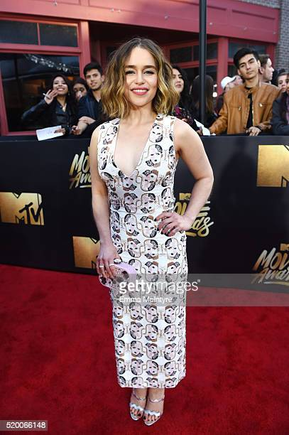 Actress Emilia Clarke attends the 2016 MTV Movie Awards at Warner Bros Studios on April 9 2016 in Burbank California MTV Movie Awards airs April 10...