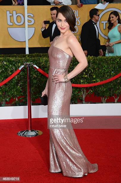 Actress Emilia Clarke attends the 20th Annual Screen Actors Guild Awards at The Shrine Auditorium on January 18 2014 in Los Angeles California