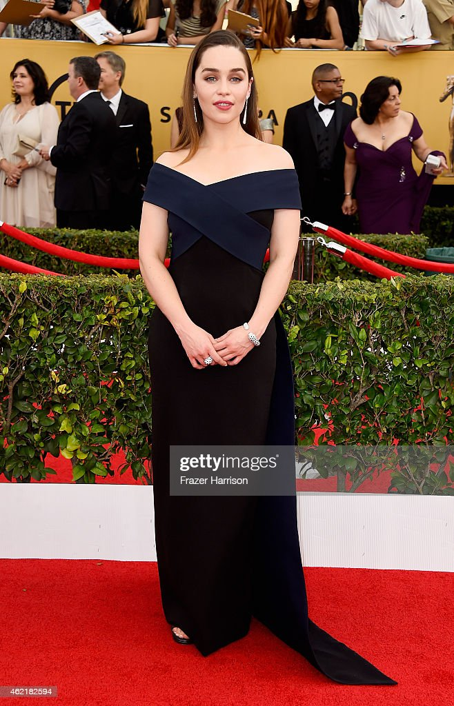 Actress Emilia Clarke attends the 21st Annual Screen Actors Guild Awards at The Shrine Auditorium on January 25 2015 in Los Angeles California