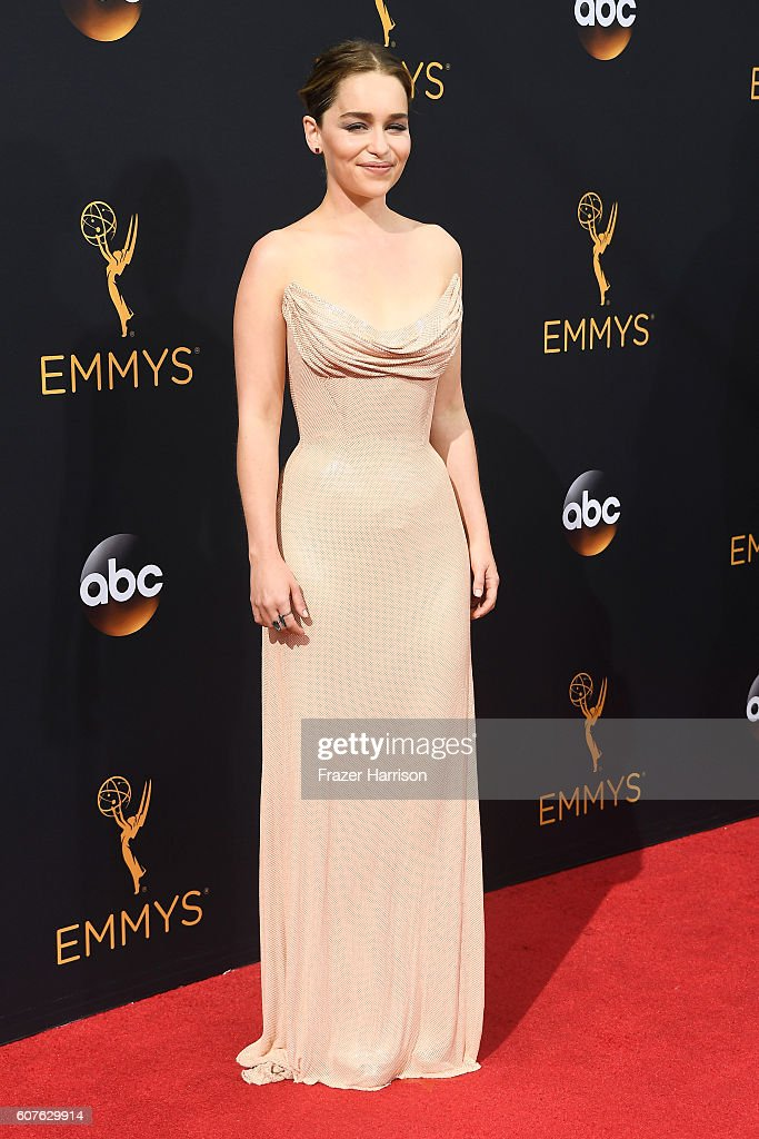 Actress Emilia Clarke attends the 68th Annual Primetime Emmy Awards at Microsoft Theater on September 18, 2016 in Los Angeles, California.