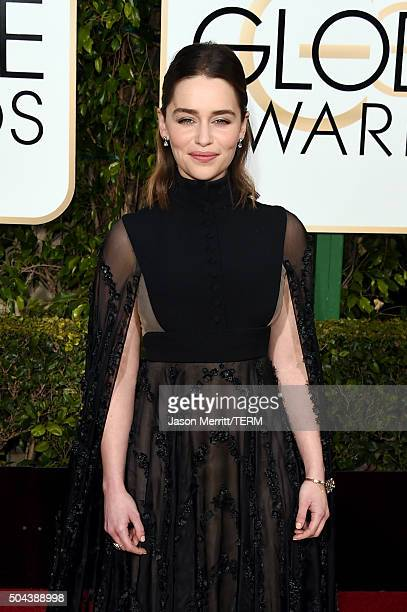 Actress Emilia Clarke attends the 73rd Annual Golden Globe Awards held at the Beverly Hilton Hotel on January 10 2016 in Beverly Hills California