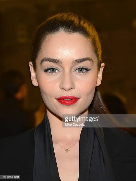 Actress Emilia Clarke attends the Altuzarra fall 2013 fashion show during MercedesBenz Fashion Week at Skylight Studio on February 9 2013 in New York...