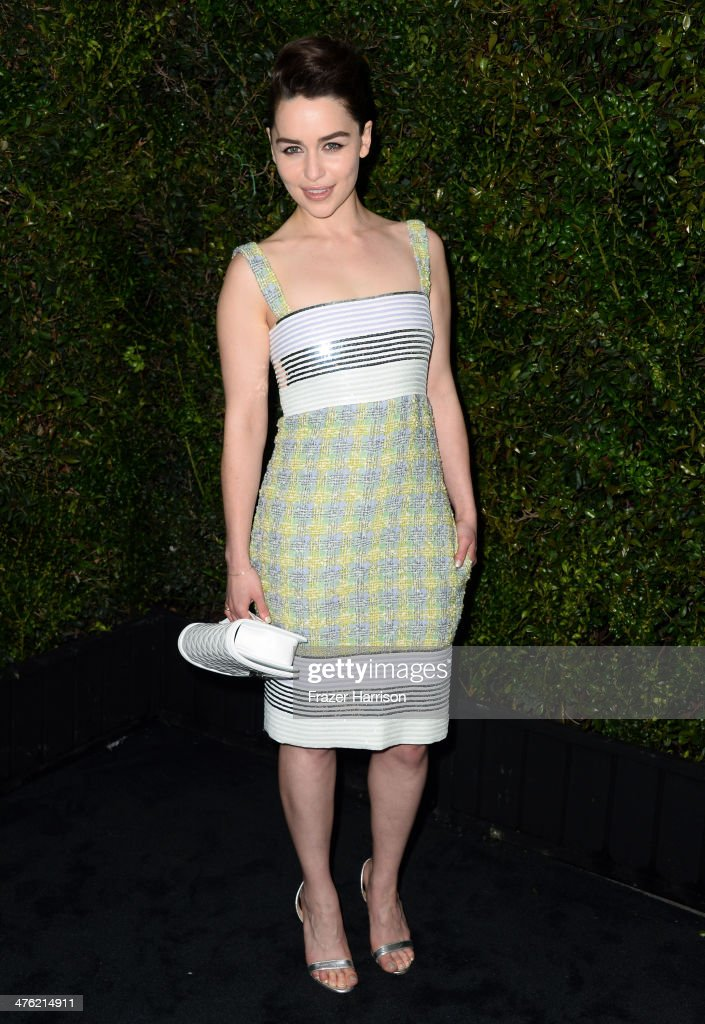 Actress Emilia Clarke attends the Chanel and Charles Finch Pre-Oscar Dinner at Madeo Restaurant on March 1, 2014 in Los Angeles, California.