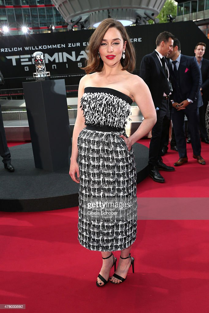 Actress Emilia Clarke attends the European Premiere of 'Terminator Genisys' at the CineStar Sony Center on June 21 2015 in Berlin Germany