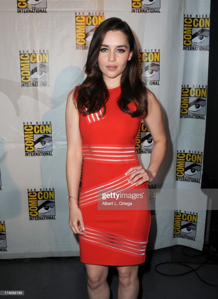 Actress <a gi-track='captionPersonalityLinkClicked' href=/galleries/search?phrase=Emilia+Clarke&family=editorial&specificpeople=7426687 ng-click='$event.stopPropagation()'>Emilia Clarke</a> attends the 'Game Of Thrones' panel during Comic-Con International 2013 at San Diego Convention Center on July 19, 2013 in San Diego, California.