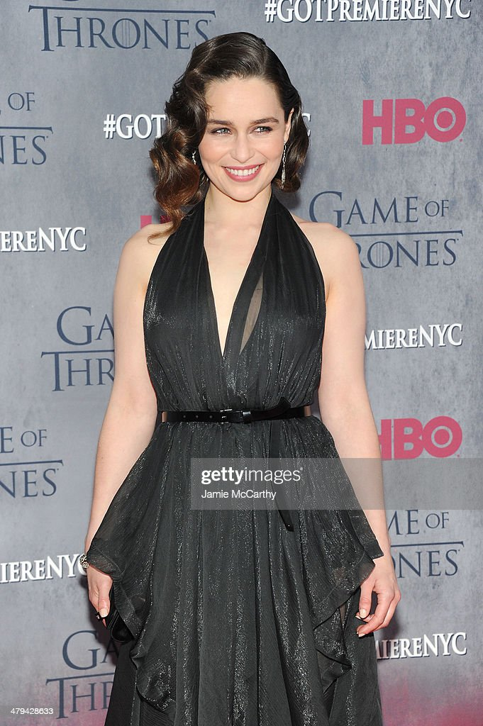 Actress Emilia Clarke attends the 'Game Of Thrones' Season 4 New York premiere at Avery Fisher Hall, Lincoln Center on March 18, 2014 in New York City.