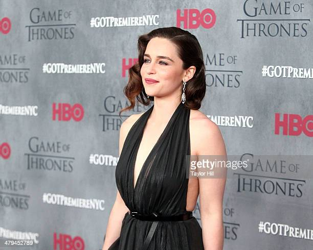 Actress Emilia Clarke attends the 'Game Of Thrones' Season 4 premiere at Avery Fisher Hall Lincoln Center on March 18 2014 in New York City