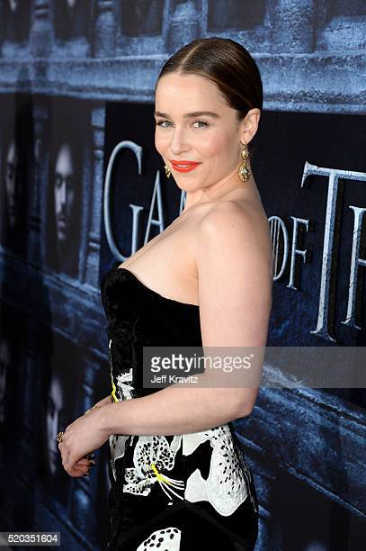 Actress Emilia Clarke attends the premiere for the sixth season of HBO's 'Game Of Thrones' at TCL Chinese Theatre on April 10 2016 in Hollywood City