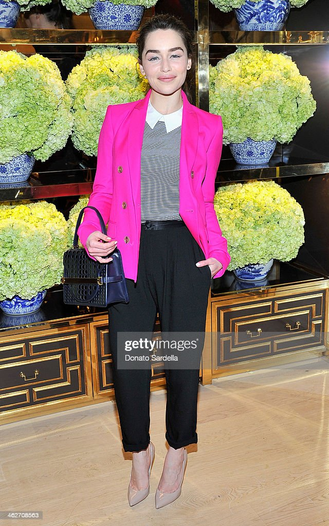 Actress <a gi-track='captionPersonalityLinkClicked' href=/galleries/search?phrase=Emilia+Clarke&family=editorial&specificpeople=7426687 ng-click='$event.stopPropagation()'>Emilia Clarke</a> attends the Tory Burch Rodeo Drive Flagship Opening at Tory Burch on January 14, 2014 in Beverly Hills, California.