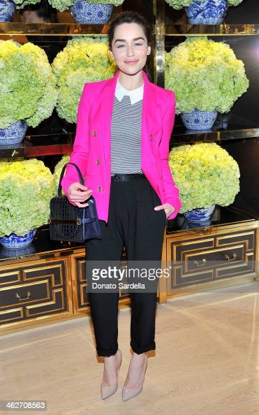 Actress Emilia Clarke attends the Tory Burch Rodeo Drive Flagship Opening at Tory Burch on January 14 2014 in Beverly Hills California
