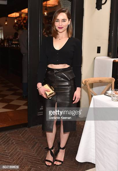 Actress Emilia Clarke attends W Magazine's It Girl luncheon in partnership with Coach and Moet Chandon at AOC on January 9 2016 in Los Angeles...