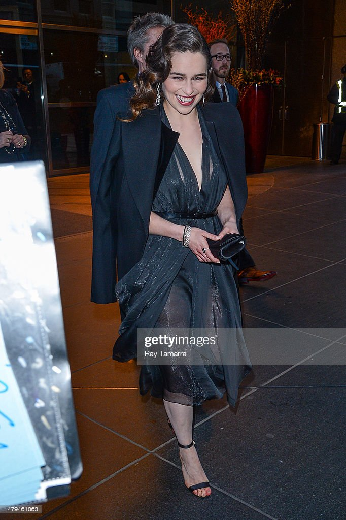 Actress <a gi-track='captionPersonalityLinkClicked' href=/galleries/search?phrase=Emilia+Clarke&family=editorial&specificpeople=7426687 ng-click='$event.stopPropagation()'>Emilia Clarke</a> leaves a Midtown Manhattan hotel on March 18, 2014 in New York City.
