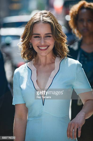 Actress Emilia Clarke leaves the 'Good Morning America' taping at the ABC Times Square Studios on May 23 2017 in New York City