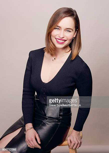 Actress Emilia Clarke poses for a portrait at the BAFTA Los Angeles Awards Season Tea at the Four Seasons Hotel on January 9 2016 in Los Angeles...