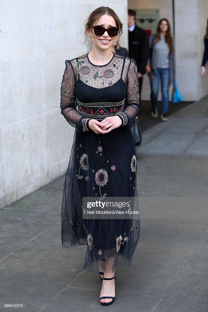Actress Emilia Clarke seen leaving the BBC Radio 1 Studios on May 26 2016 in London England
