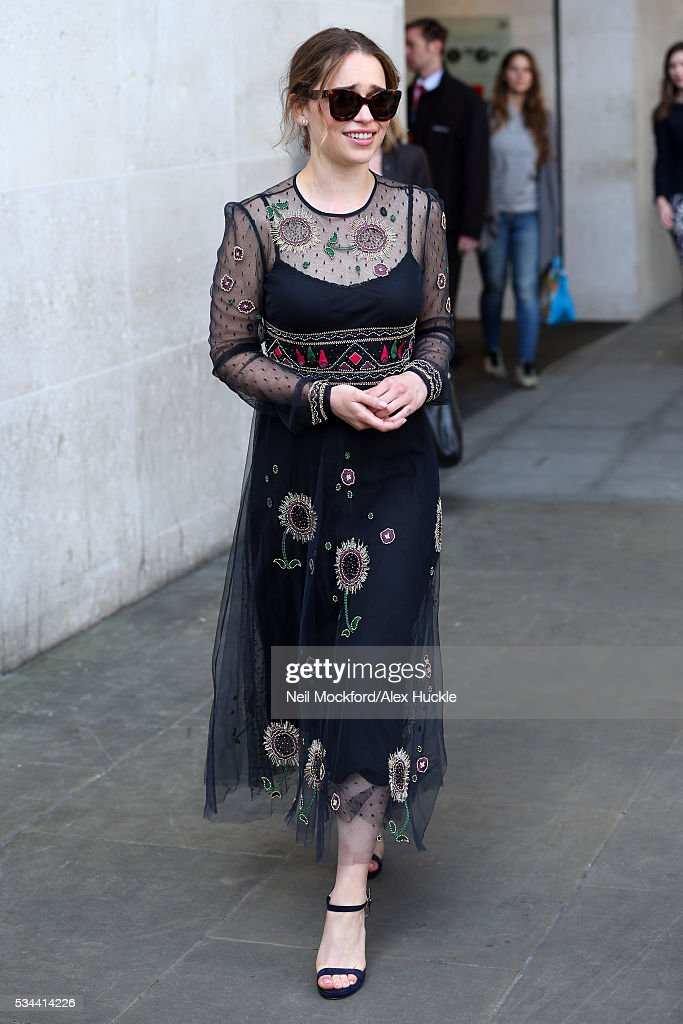 Actress <a gi-track='captionPersonalityLinkClicked' href=/galleries/search?phrase=Emilia+Clarke&family=editorial&specificpeople=7426687 ng-click='$event.stopPropagation()'>Emilia Clarke</a> seen leaving the BBC Radio 1 Studios on May 26, 2016 in London, England.