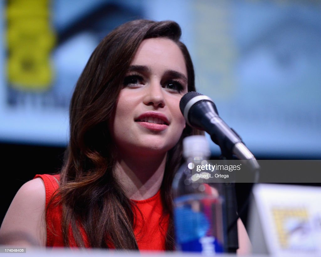 Actress <a gi-track='captionPersonalityLinkClicked' href=/galleries/search?phrase=Emilia+Clarke&family=editorial&specificpeople=7426687 ng-click='$event.stopPropagation()'>Emilia Clarke</a> speaks onstage during the 'Game Of Thrones' panel during Comic-Con International 2013 at San Diego Convention Center on July 19, 2013 in San Diego, California.