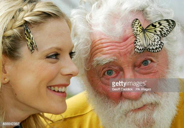 Actress Emilia Fox and botanist David Bellamy with two Tree Nymph butterflies at the Future Gardens visitor attraction near St Albans as a new...