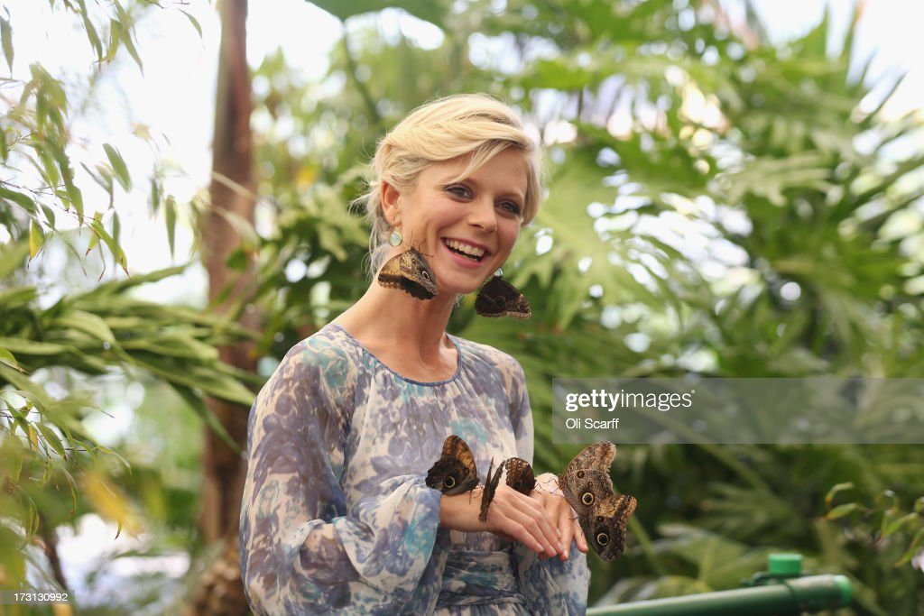 Actress <a gi-track='captionPersonalityLinkClicked' href=/galleries/search?phrase=Emilia+Fox&family=editorial&specificpeople=210768 ng-click='$event.stopPropagation()'>Emilia Fox</a> is surrounded by exotic butterflies in the 'RHS Butterfly Dome with Eden' at the Hampton Court Palace Flower Show on July 8, 2013 in London, England. Hampton Court Palace Flower Show opens to the public tomorrow and runs until July 14, 2013. It is the world's largest flower show with over 600 exhibitors spread over 34 acres.