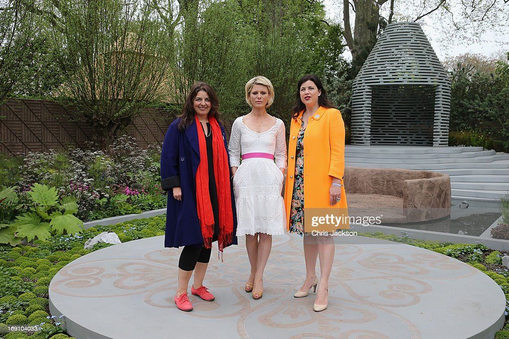 Actress Emilia Fox poses with garden designer Jinny Blom (L) and Kirstie Allsopp (R) in the B&Q Sentebale 'Forget-Me-Not' Garden at the Chelsea Flower Show at Royal Hospital Chelsea on May 20, 2013 in London, England. The B&Q Sentebale 'Forget Me Not' Garden was designed by renowned garden designer Jinny Blom and includes native Lesotho flowers and a contemporary pavilion based on a Traditional Basotho roundhouse. The garden was built to raise awareness of the work of Prince Harry's charity Sentebale and the plight of the children of this small African Kingdom.
