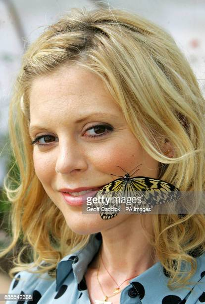 Actress Emilia Fox with a Tree Nymph butterfly at the Future Gardens visitor attraction near St Albans as a new pioneering conservation project was...