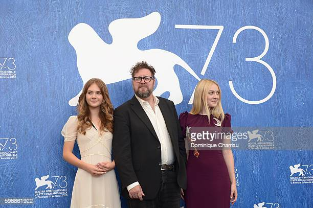 Actress Emilia Jones director Martin Koolhoven actress Dakota Fanning attend the photocall of 'Brimstone' during the 73rd Venice Film Festival at on...